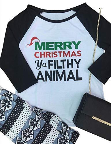 Nlife Women Merry Christmas Ya Filthy Animal Blouse Long Sleeves Color Block T-Shirt