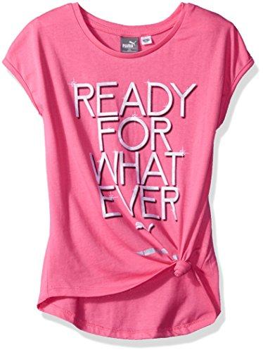 Pink Girls Cap Sleeve T-shirt (PUMA Big Girls' Side Tie T-Shirt, Hot Pink, Large (12/14))