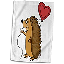 3dRose All Smiles Art Love - Funny Cool Hedgehog with Love Balloon Cartoon - 15x22 Hand Towel (twl_265133_1)