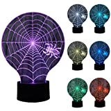 ZLTFashion 3D Visual Optical Illusion Colorful LED Table Lamp Touch Cute Animal Night Light Christmas Prank Gifts Romantic Holiday Creative Gadget (Spider 1)