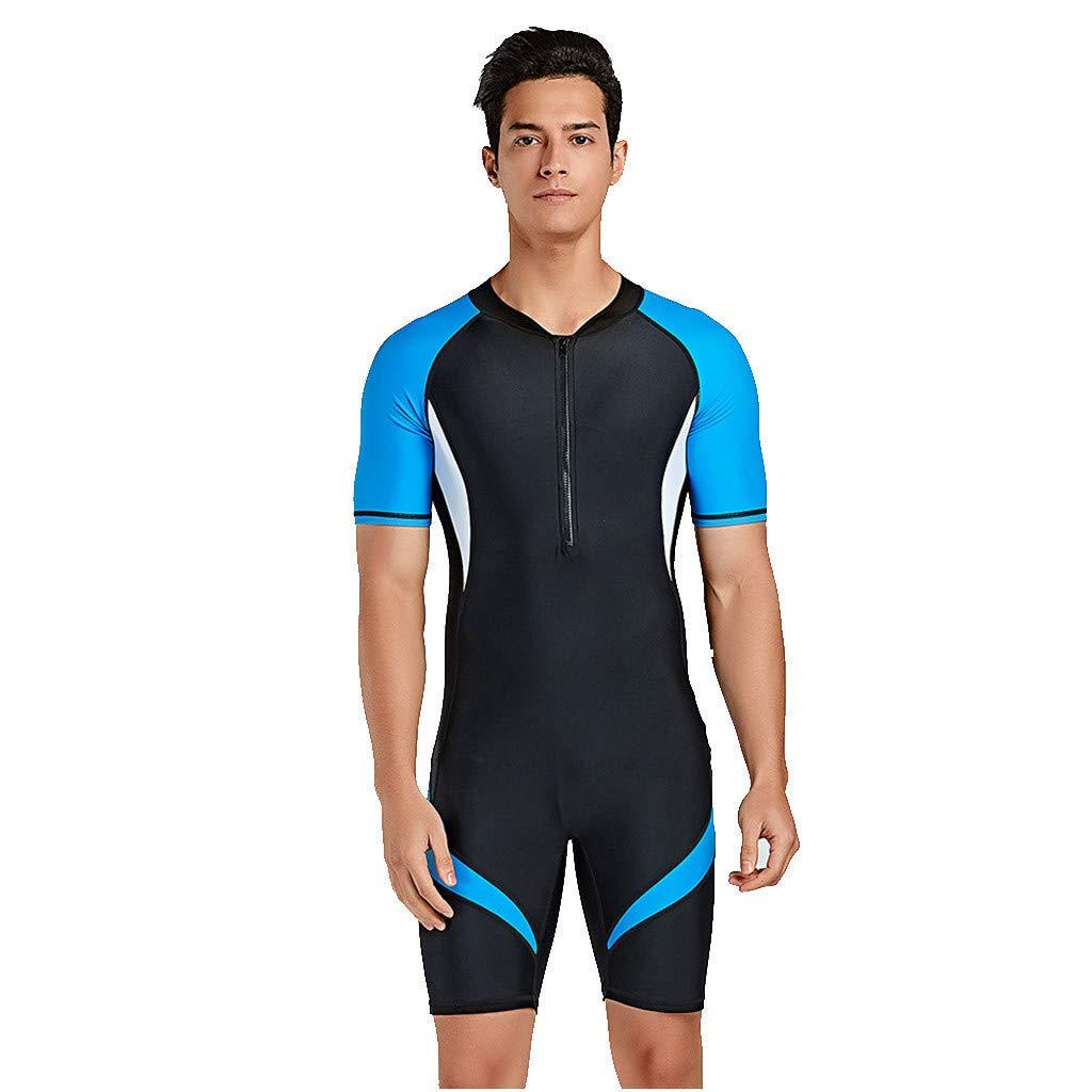 CofeeMO Rash Guard UV Protection Short Sleeve Men Surfing Suit,Front Zipper Neoprene Wetsuit Swimwear(Blue,XXL)
