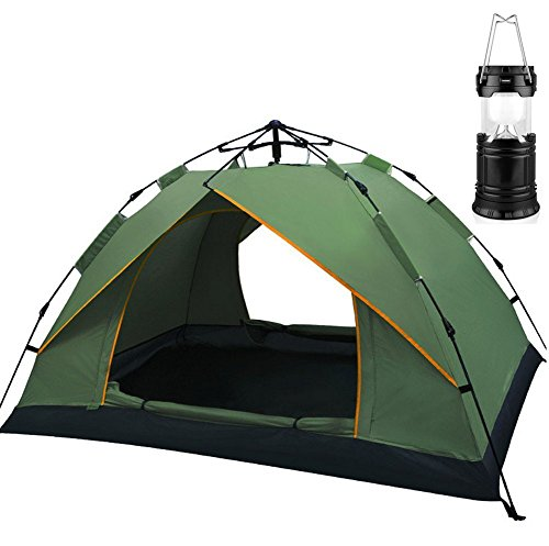 YIHANG Waterproof 3 Season Tent for Camping/2-3 Person Camping Tent/Backpacking Tents & LED Portable Outdoor Camping Lantern (Dark green)