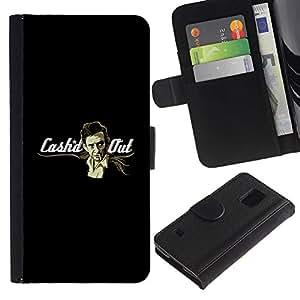iKiki Tech / Cartera Funda Carcasa - Money Smoke Man Art Gangster Mafia - Samsung Galaxy S5 V SM-G900