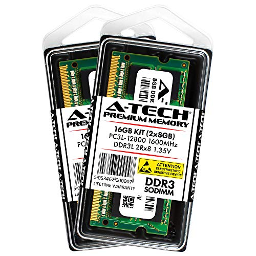 A-Tech 16GB Kit (2X 8GB) DDR3/DDR3L 1600MHz PC3L-12800 2Rx8 1.35V CL11 Non ECC Unbuffered Low Voltage 204 Pin SODIMM Laptop Notebook Computer Memory Ram Upgrade