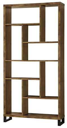 Coaster Industrial Bookcase for Bedroom Living Room Made w Wood and Metal in Antique Nutmeg Finish 11.50 L x 34.75 W x 70.75 H in.
