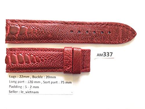 AM337 # Red GENUINE OSTRICH LEATHER SKIN WATCH STRAP BAND 22mm / 20mm