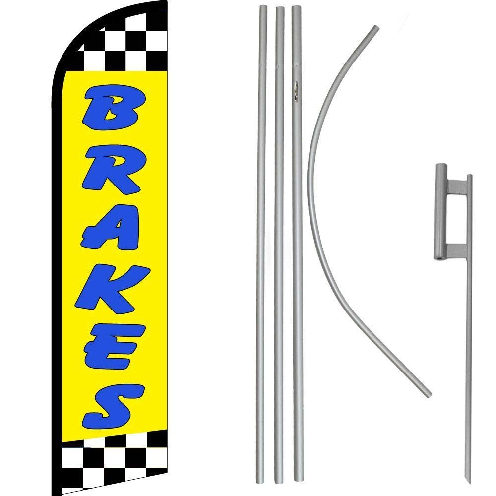 ALBATROS Brakes Yellow with Checkered Windless Banner Flag with 16ft Flagpole Kit/Ground for Home and Parades, Official Party, All Weather Indoors Outdoors by ALBATROS