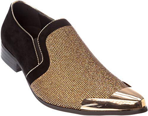(Cristiano Mens Slip-On Fashion-Loafer Sparkling-Glitter Metal-Tip Gold Dress-Shoes Size 8.5 )