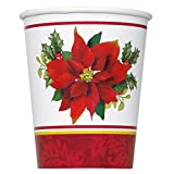 9oz Holly Poinsettia Holiday Party Cups, 8ct