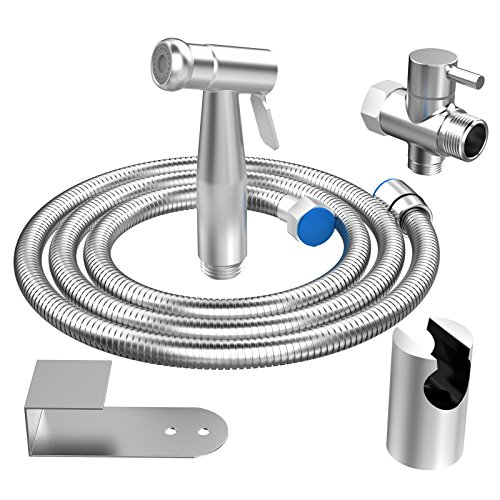 EIGSO hand held bidet sprayer for toilet Complete Premium Stainless Steel Bathroom Shattaf Sprayer Best Used for Personal Hygiene and Potty Toilet Spray by EIGSO