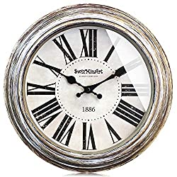 SwizMiuArt Basic Wall Clock 12 inches Large Round Rustic Decorative Retro Metal Hands Non Ticking Battery Operated Silent Antique Vintage Style Big Number Clocks for Bedrooms Walls Decor Plated Gold