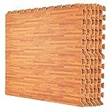 Cheap Wacces 24 x 24 inch Multi-Purpose Puzzle EVA Floor Interlocking Foam Exercise Mat Tiles with Wood Design – White Oak