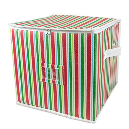 DII Holiday Ornament Storage Bin with Dividers & Separators to Protect Fragile Christmas Tree Decorations (Holds 48 Ball Decorations) - Holiday Stripe, Small