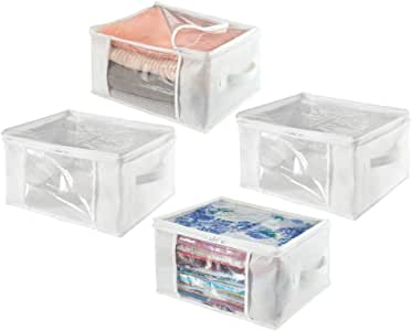 mDesign Juego de 4 Cajas de almacenaje – Cajas de Tela Plegables de Polipropileno, tamaño Mediano – Cajas con Tapa para Ropa y Accesorios – Cajas con Asas y Cremallera – Blanco: Amazon.es: Hogar