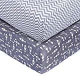Crib Sheet Set UOMNY 100% Natural Cotton Baby Coverlet Toddler Sheet Set for Baby Boys and Girls 2 Pack(Small Fish/Gray Wave Pattern)