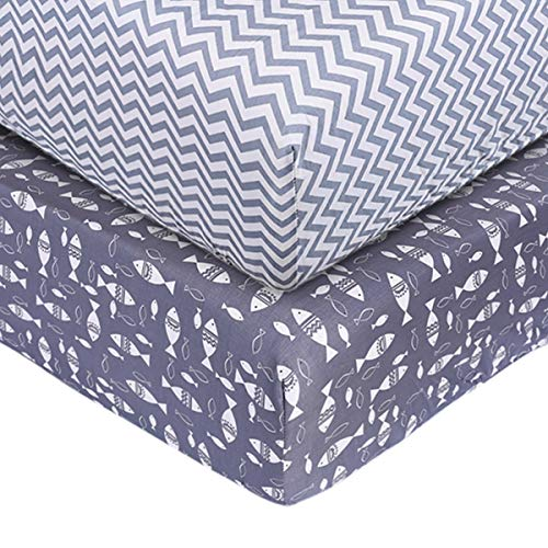 Crib Sheet Set UOMNY 100% Cotton Crib Fitted Sheets Baby Sheet Set for Standard Crib and Toddler mattresses Nursery Bedding Sheet Crib Mattress Sheets for Boys and Girls(Fish/Gray Wave Pattern)