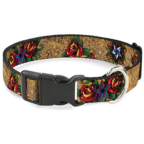 Buckle Down Dog Collar Plastic Clip Tattoo Johnny Stars 8 to 12 Inches 0.5 Inch Wide ()