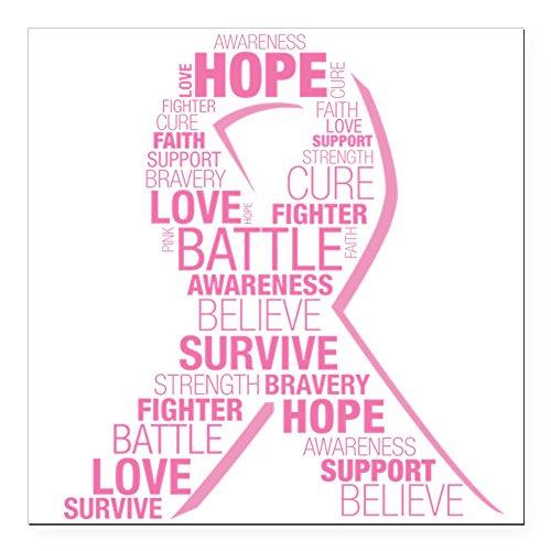 CafePress - Breast Cancer Ribbon Col Square Car Magnet 3