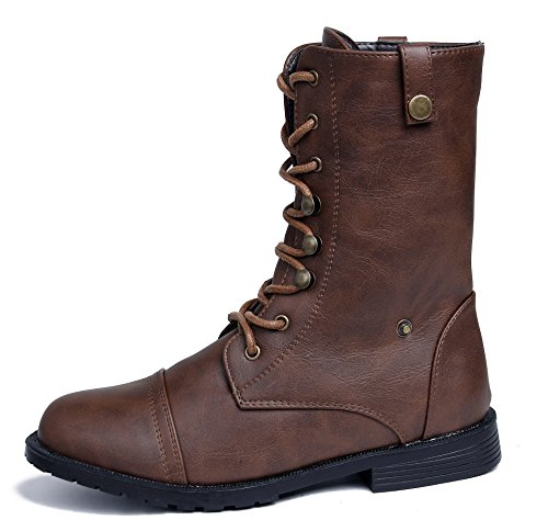 PU AgeeMi Winter Shoes Up Casual Heel Combat Boot Womens Lace Brown Block Low xXOIrqX