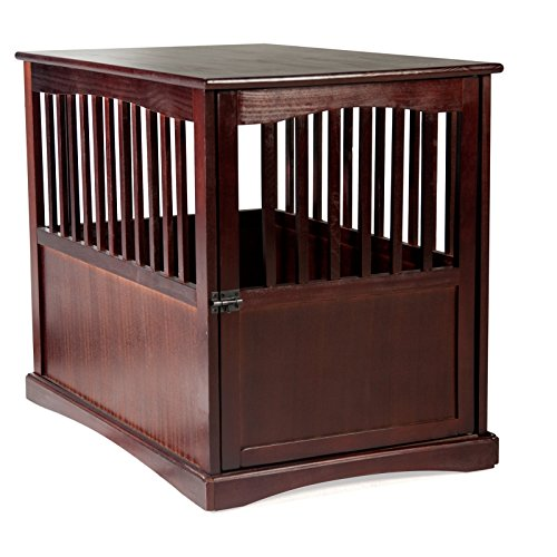 Wooden-Pet-Crate-Table-For-Dogs-Cats-Espresso-Enclosure-Cage-365-x-24-wide-x-2925-Locking-Kennel-Enclosure