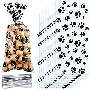 Blulu Pet Paw Print Cone Cellophane Bags Heat Sealable Treat Candy Bags Dog Gift Bags Cat Treat Bags with 100 Pieces Silver Twist Ties for Pet Treat Party Favor 14
