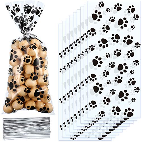 Blulu Pet Paw Print Cone Cellophane Bags Heat Sealable Treat Candy Bags Dog Gift Bags Cat Treat Bags with 100 Pieces Silver Twist Ties for Pet Treat Party Favor (100 Pieces) ()