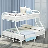 Mecor Twin Over Full Metal Bunk Bed Frame - with Inclined Ladder - Safety Rails for Kids Teens Adult - Space-Saving Design - White