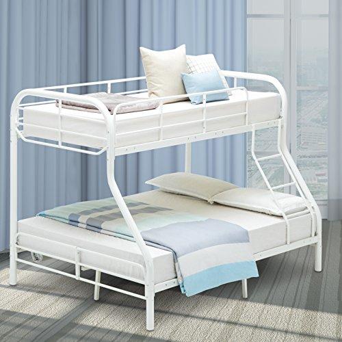 Mecor Twin over Full Metal Bunk Beds Frame with Ladder for Kids Teens Adult Loft Bed Dorm Bedroom Furniture (White) (Metal Dorm Loft Beds)
