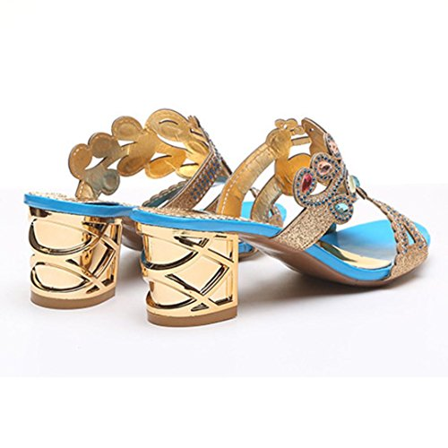 Lolittas Diamante Sandals for Women,Gold Wedding Bridal Jewelled Glitter Sparkly Bling Chunky Block High Mid Heel Peep Toe Wedge Platform Shoes Size 2-6 Blue