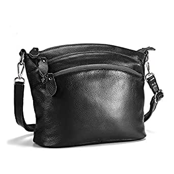 Lecxci Small Luxury Genuine Leather Cross Body Purses, Zipper Makeup Smartphone Wallets, Over The Shoulder Bags For Women Teen Girls (Black)