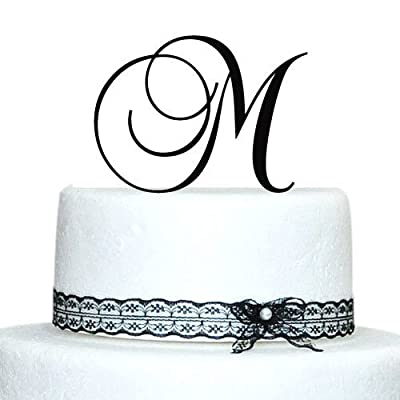 Buythrow Personalized Acrylic Wedding Initial Cake Topper in any letter A B C D E F G H I J K L M N O P Q R S T U V W X Y Z Gold