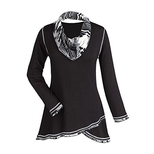 Women's Tunic Top - Midnight Black And White Cowl Neck Shirt - 2X