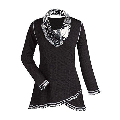 Women's Tunic Top - Midnight Black And White Cowl Neck Shirt - 2X