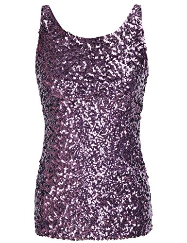 PrettyGuide Women Shimmer Glam Sequin Embellished Sparkle Tank Top Vest Tops ,Purple,Us Size -Medium, Asian Size- L -