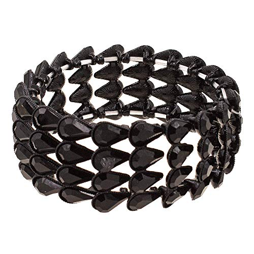 "- Lavencious Pear Shape Rhinestone 4 Lines Stretch Bracelet Evening Party Jewelry 7"" (Jet Black)"