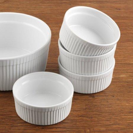 Bia Cordon Bleu Inc 900013 10 Ounce White Porcelain Individual Souffle Bowl = Set of 4                   by BIA Cordon Bleu