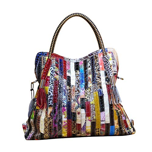 Vegasking Women's Retro Snake Skin Top Handle Hangbag Casual Satchel Genuine Leather Color Collision Tote Single Shoulder Bag (Style2-Multi Colored) (Tote Retro Leather)