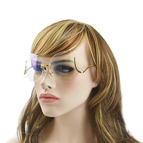 MINCL/unique Design Rimless Sunglasses Clear and Color With Box (gold, - Sunglasses Rimless Clear