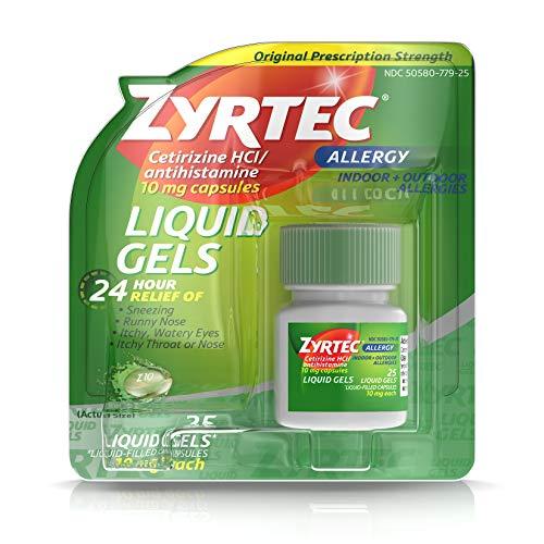 - Zyrtec 24 HR Indoor & Outdoor Allergy Liquid Gels Capsules, Cetirizine HCI Antihistamine, 25 ct