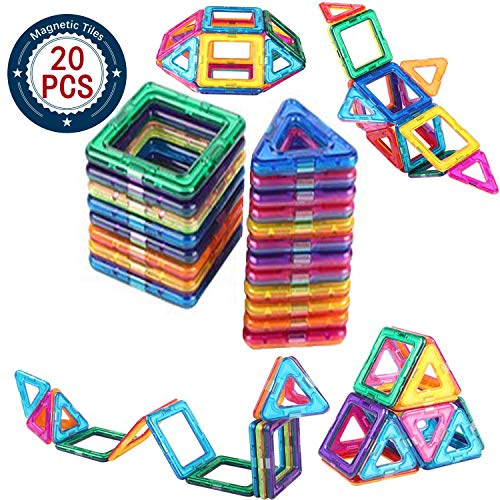 (AOCKS 20pcs Magnetic Building Blocks Toys Educational Plastic Bricks Technic Designer Assembly Enlighten Blocks Construction Inspirational, Recreational, Educational Conventional (20 Multicolour))