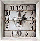 FIRST VINTAGE 8×8″ Design Rustic Style Natural Wooden Decorative Wall Clock and Table clock For Sale