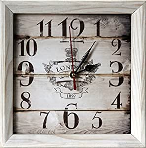 """FIRST VINTAGE 8x8"""" Design Rustic Style Natural Wooden Decorative Wall Clock and Table clock"""