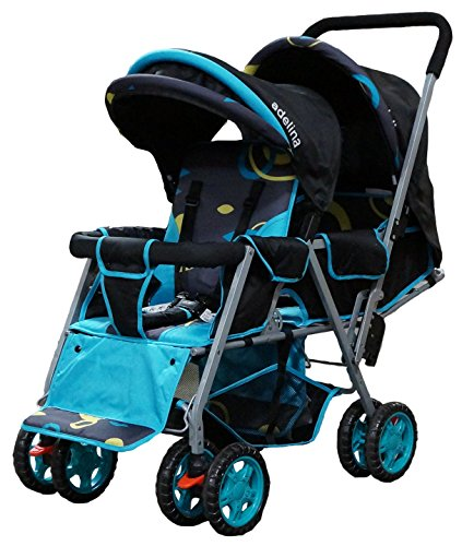 ADELINA Designer Double Stroller, Blue Circles by ADELINA