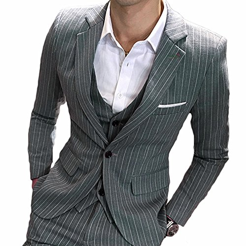 MAGE MALE Men's 3 Pieces Suit Pinstripe One-Button Slim Fit Stripe Single Breasted Notched Lapel Blazer Vest Pants Sets, Grey, Medium
