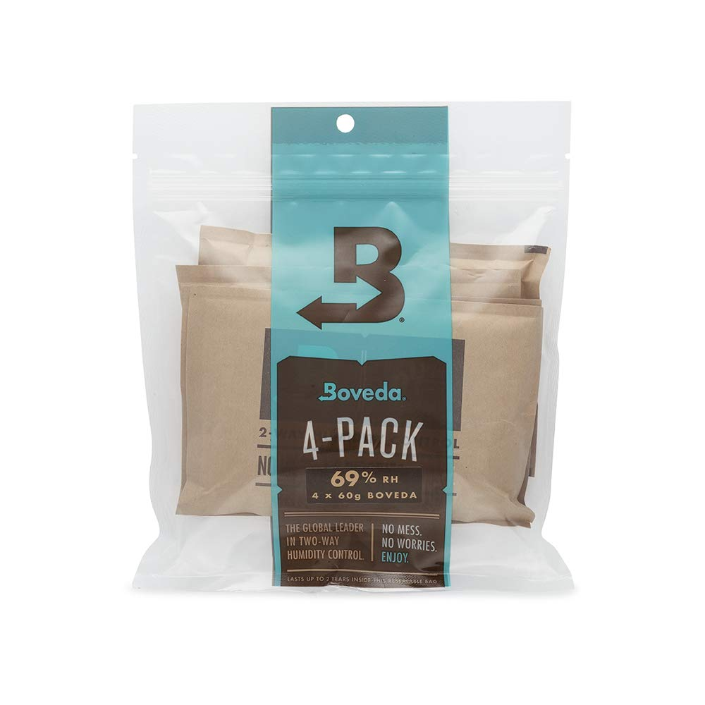 Boveda for Cigars/Tobacco | 69% RH 2-Way Humidity Control | Size 60 for Use with Every 25 Cigars a Humidor Can Hold | Patented Technology For Cigar Humidors | 4-Count Resealable Bag