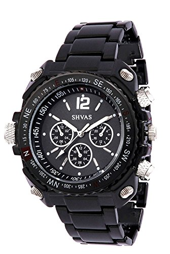 SHVAS Black Round Dial Analog Exclusive Unisex Watch with 6 months replacement warranty (BHIMBLACK)