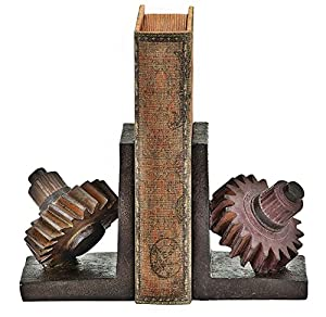 Poly-stone Gear Bookend, 7 By 5-inch, Set of 2