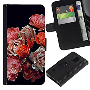 Graphic Case / Wallet Funda Cuero - Black Red Pink Flowers - Samsung Galaxy S5 V SM-G900