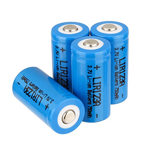 Bingogous RCR123A Rechargeable Battery, 3.7V 750mAh Lithium-ion 16340 Batteries with PTC Protection Leak Resistant, CR123A Batteries Fit for Arlo VMC3030/3230/3330/3430/3530 Security (4 (750 Mah Lithium Battery)