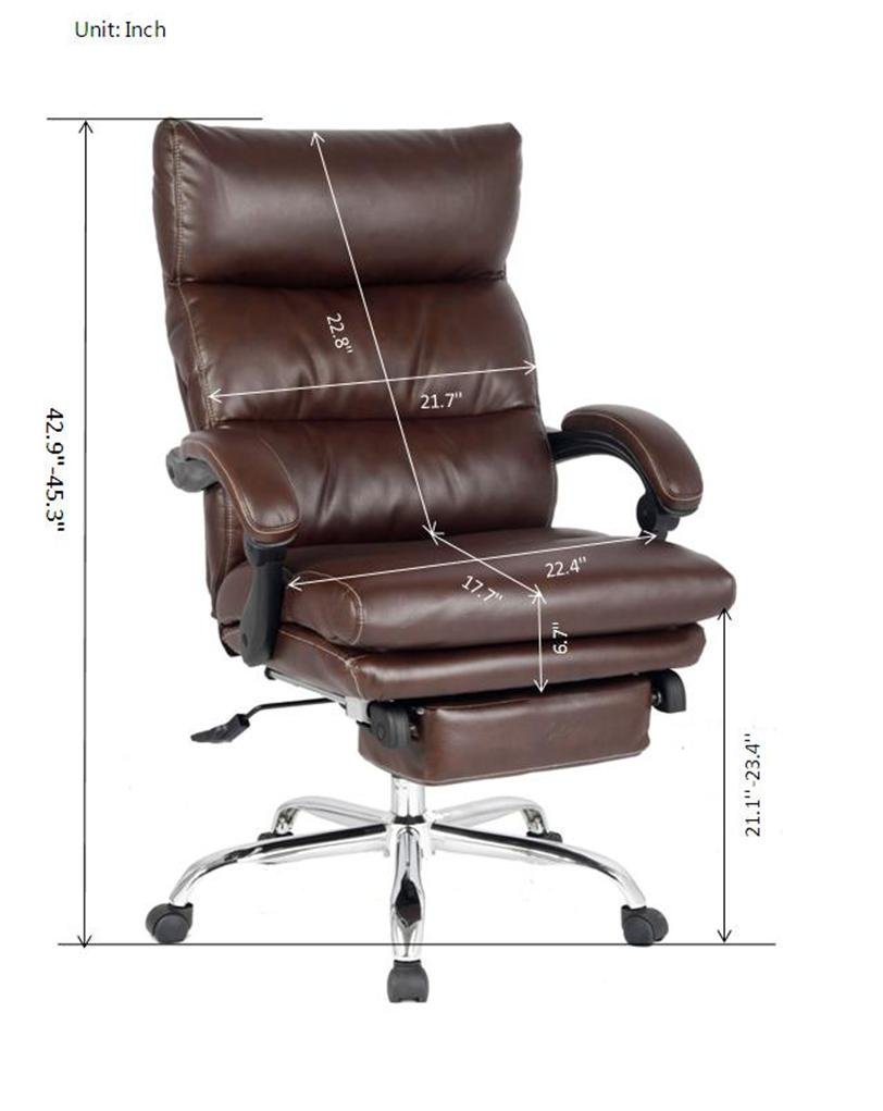 footrest amazon with bonded leather dining dp office deluxe recliner brown reclining viva com kitchen chair